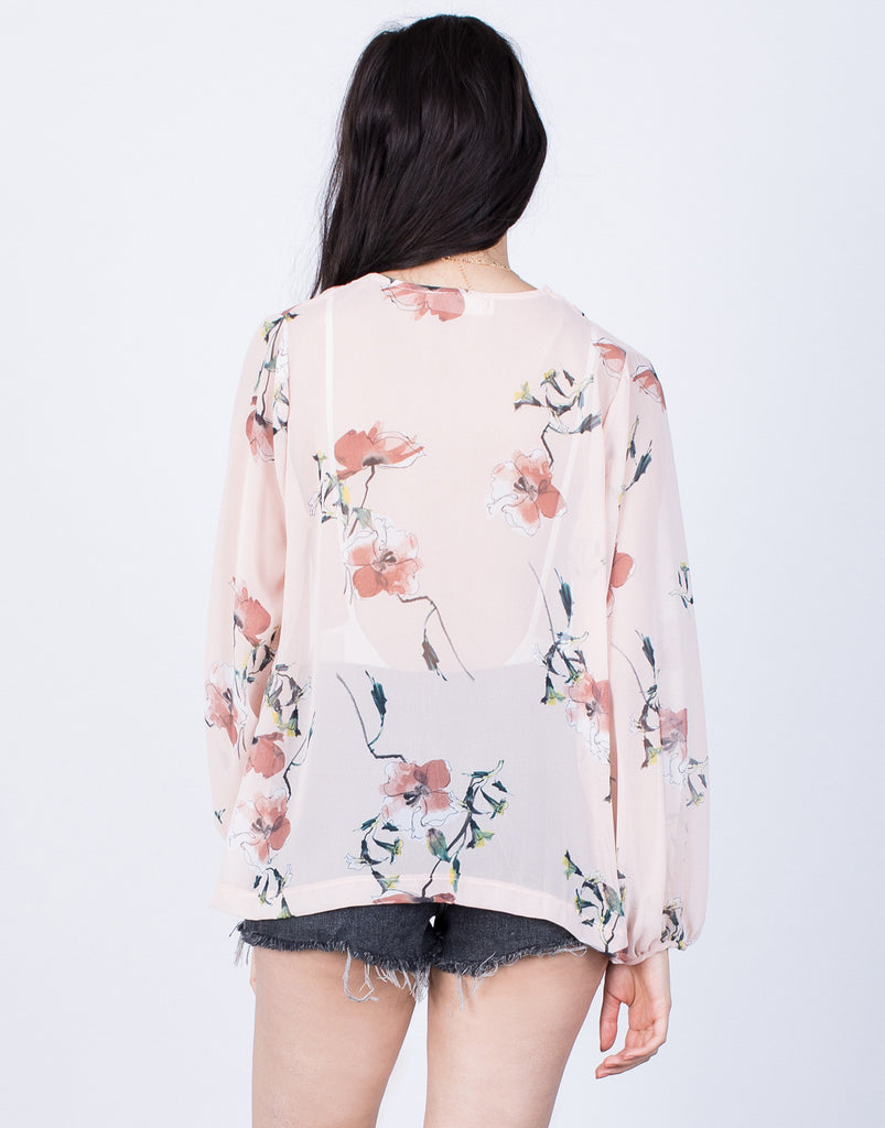 Back View of Fully Blossomed Cardigan