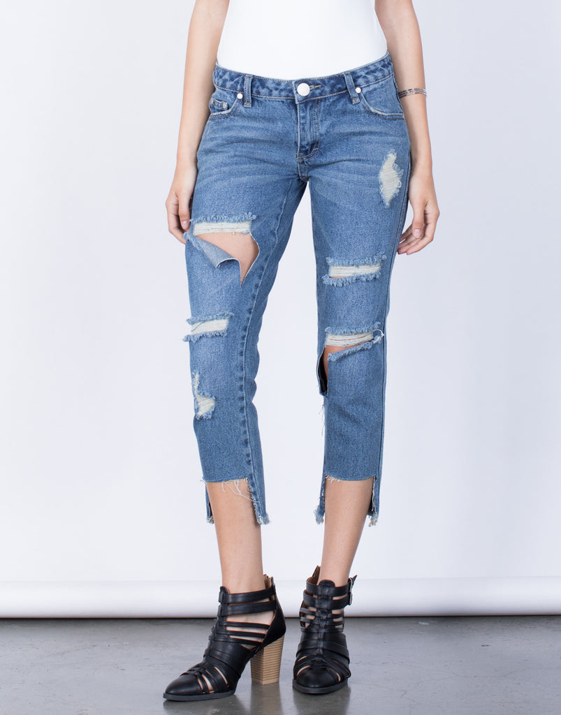 Front View of Fully Destroyed Step Hem Jeans