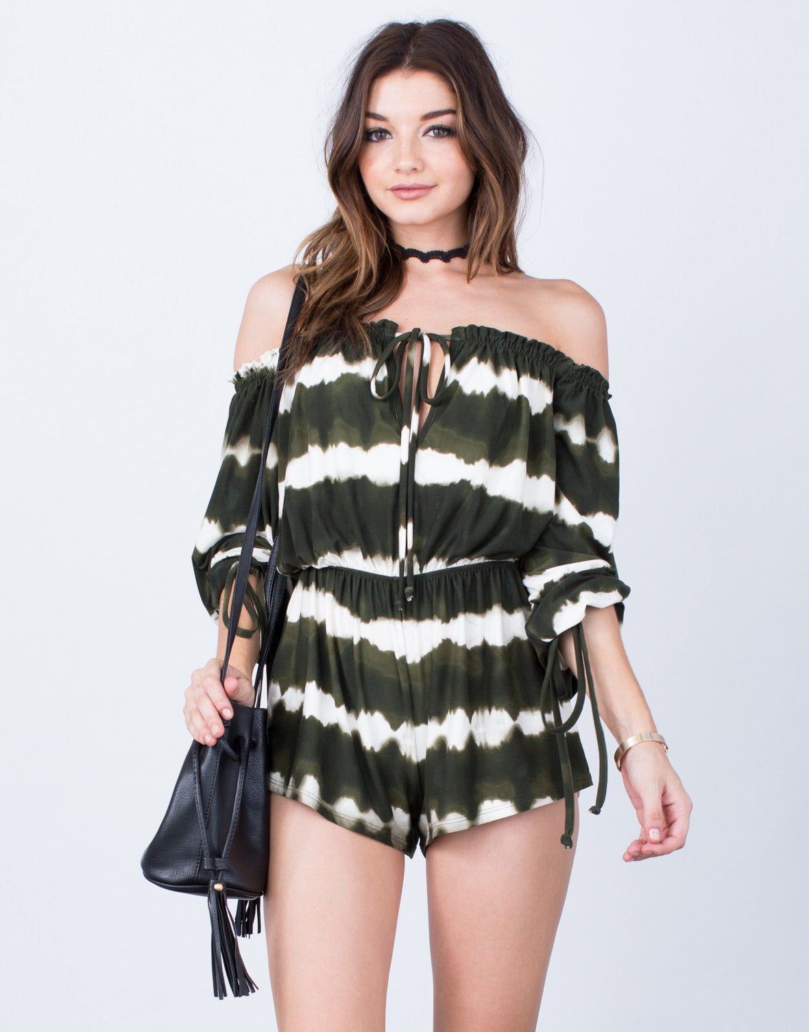 Front View of Fun and Frilly Tie-Dye Romper