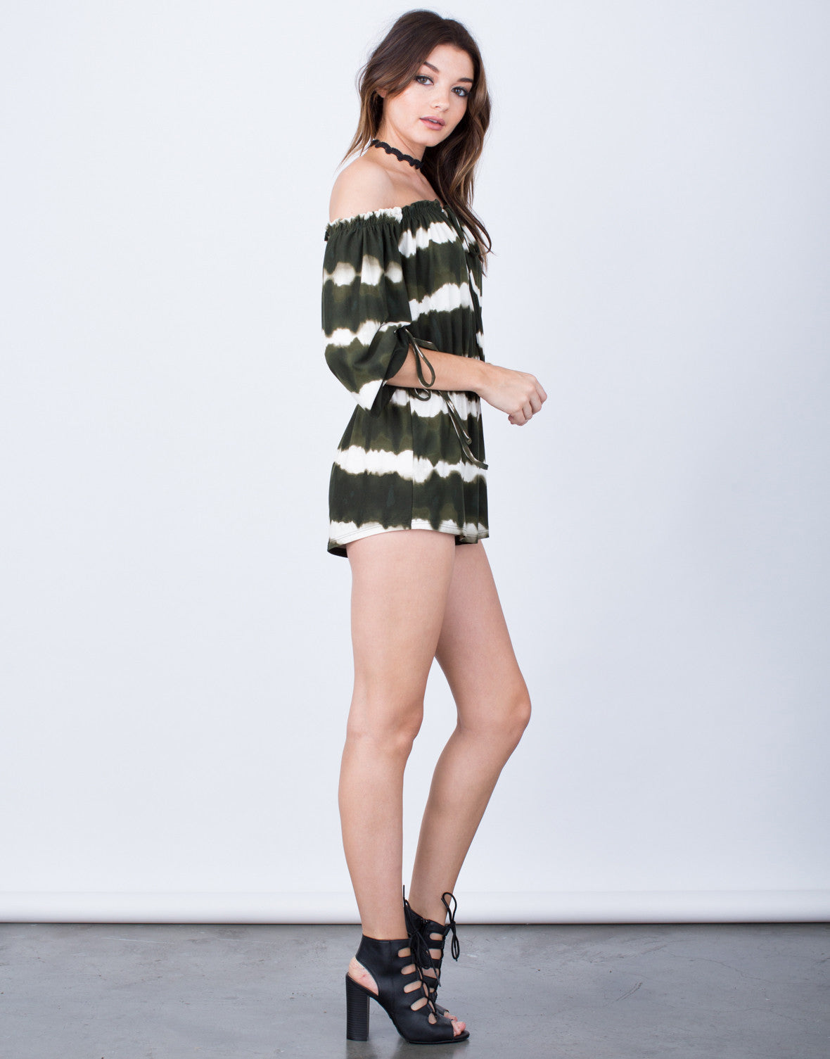 Side View of Fun and Frilly Tie-Dye Romper