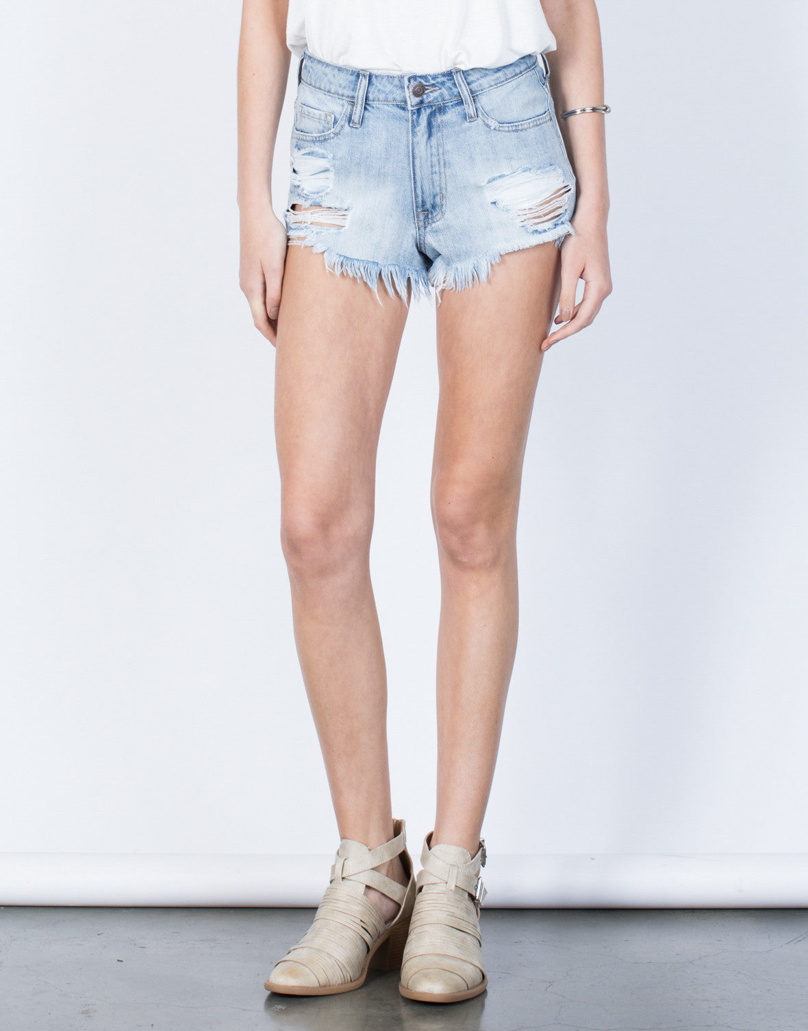 Front View of Fun in Frayed Shorts
