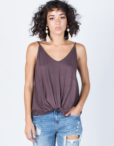 Dark Purple Fun Knotted Tank - Front View