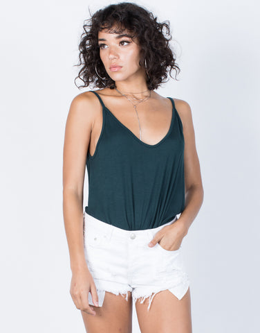 Hunter Green Fun Knotted Tank - Front View
