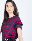 Fun Ruffled Plaid Top - 2020AVE
