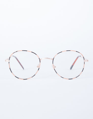 Gold Fun Striped Glasses - Front View