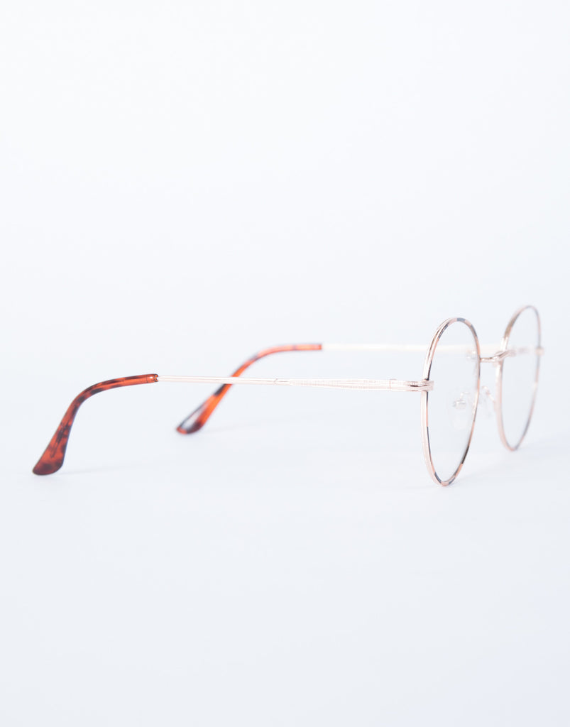 Gold Fun Striped Glasses - Side View