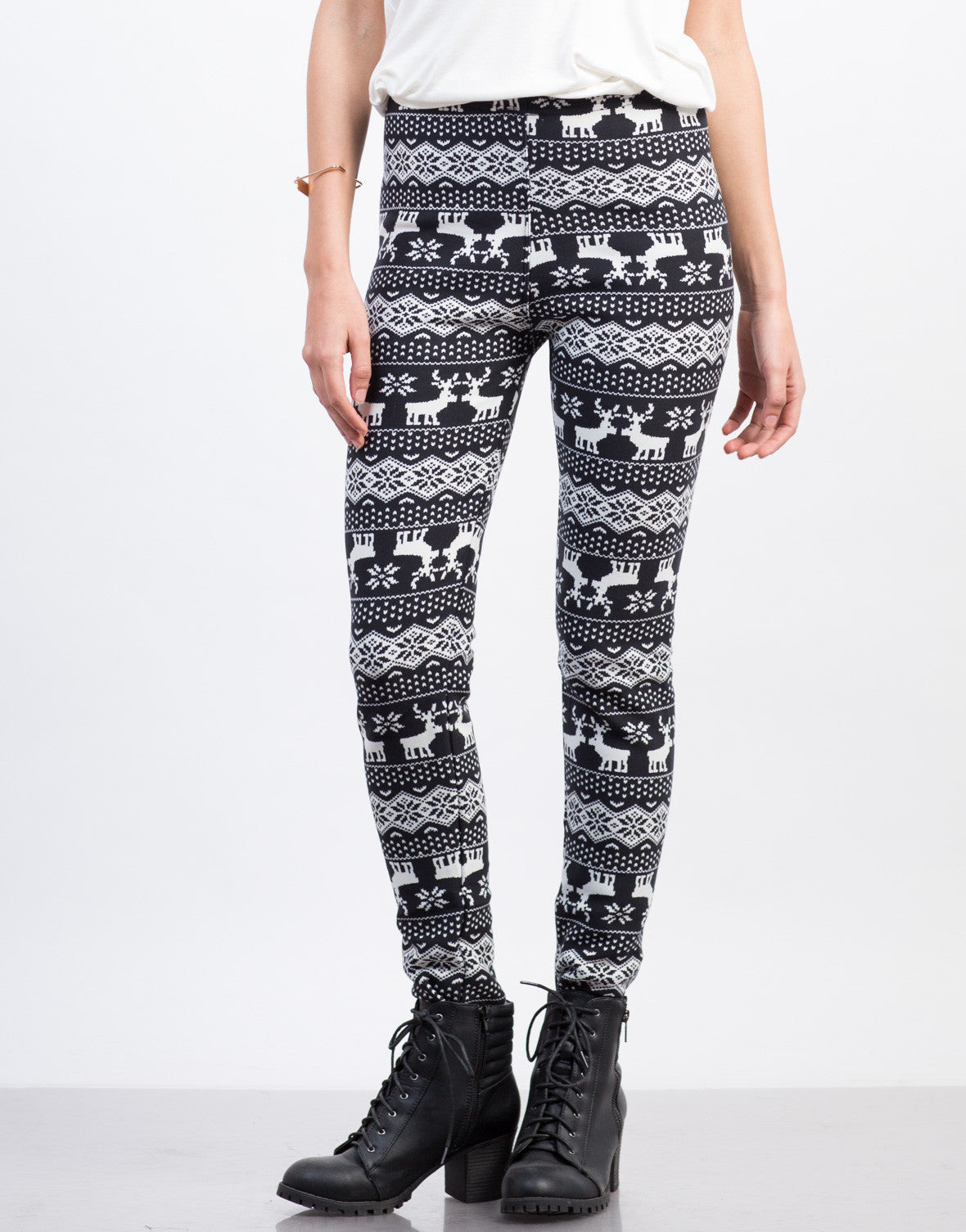 Front View of Fur Lined Reindeer Leggings