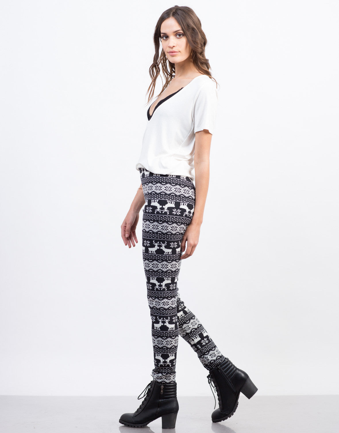 Side View of Fur Lined Reindeer Leggings