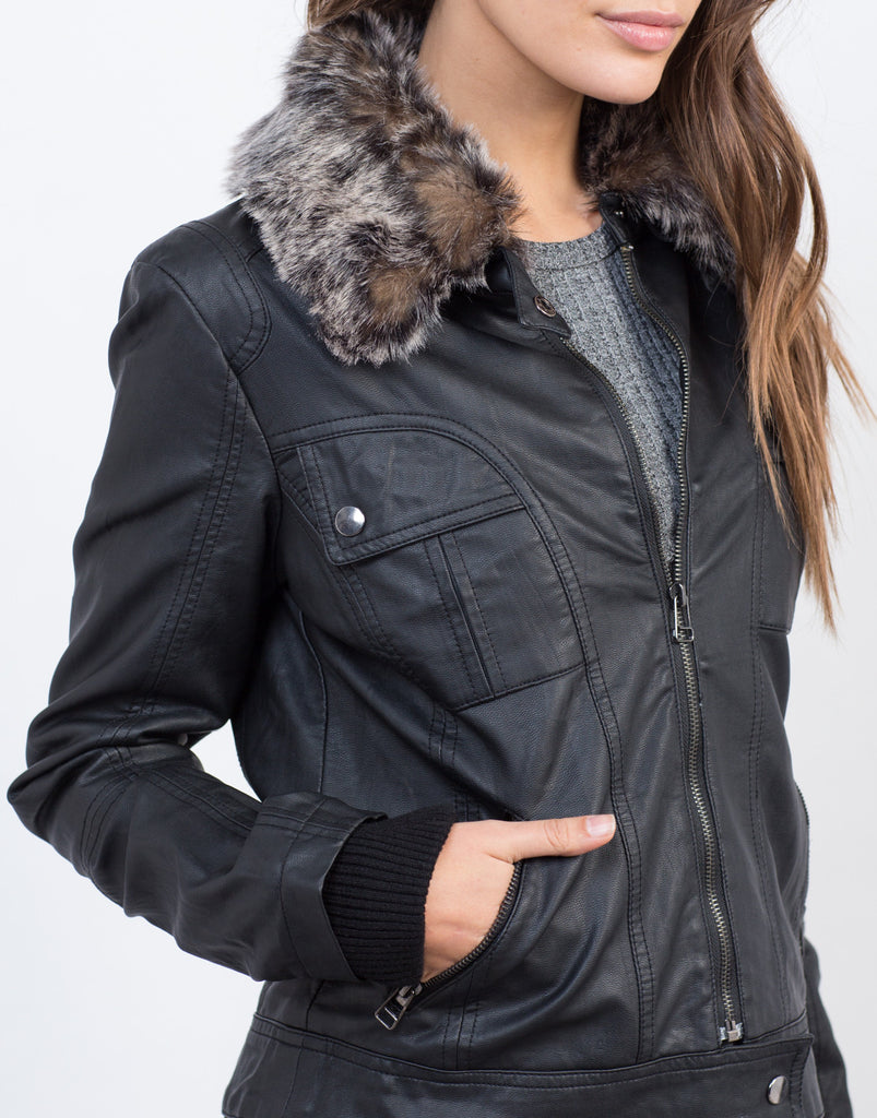 Fur Collar Leather Jacket - 2020AVE