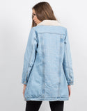 Back View of Fur Lined Denim Jacket