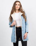 Front View of Fur Lined Denim Jacket