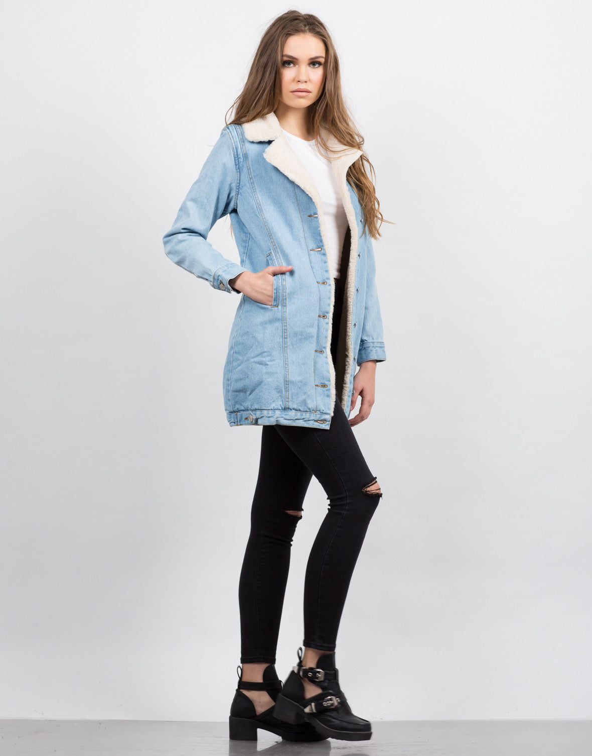 Side View of Fur Lined Denim Jacket