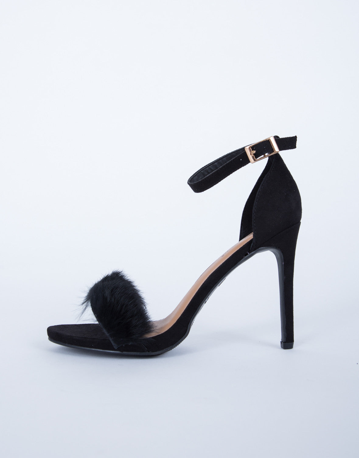 Furry Ankle Strapped Heels