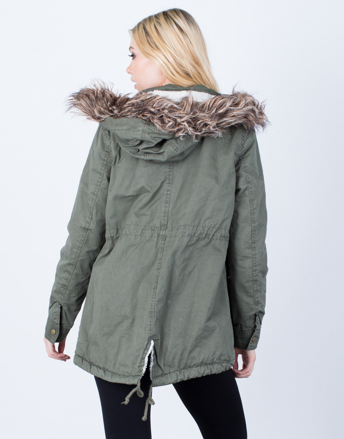 Back View of Furry Nice Parka Jacket