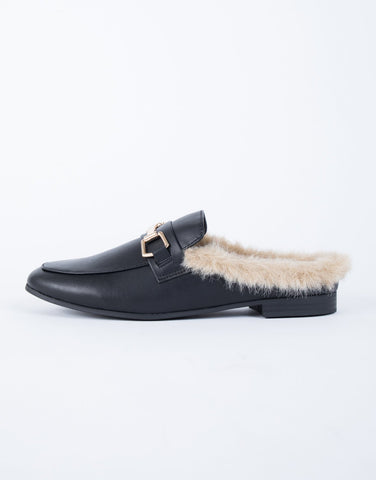 Furry Feels Leather Slides