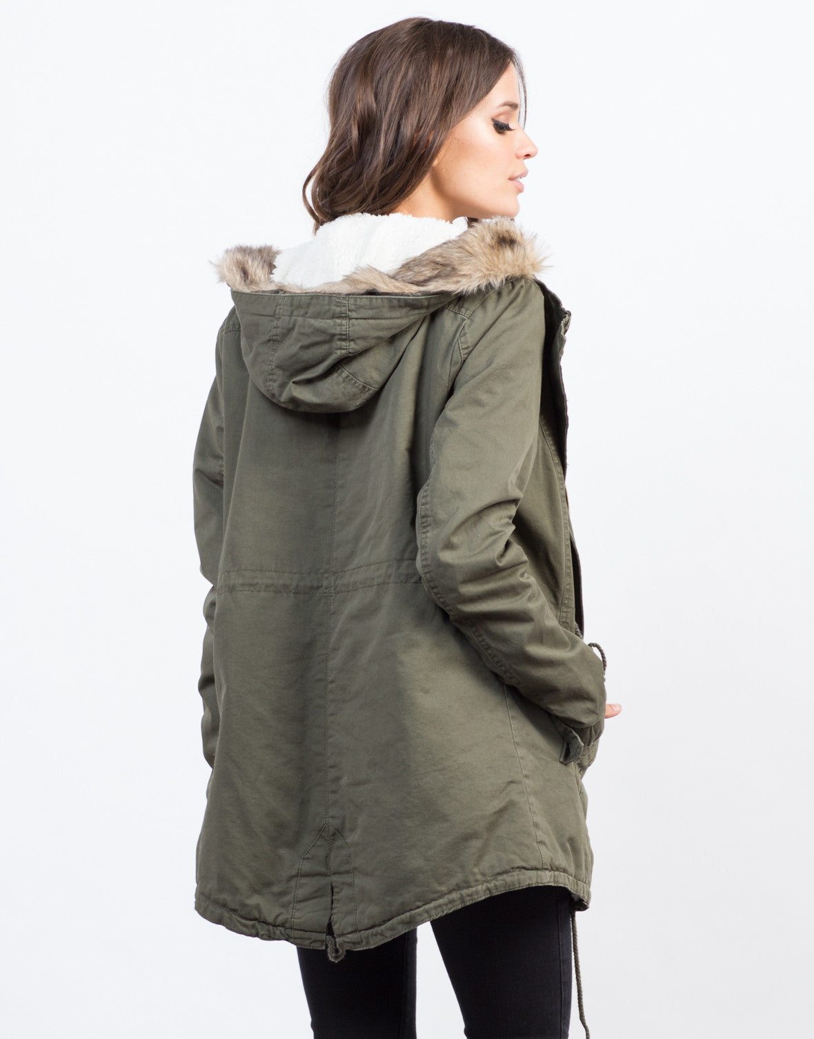Back View of Furry Hooded Military Jacket