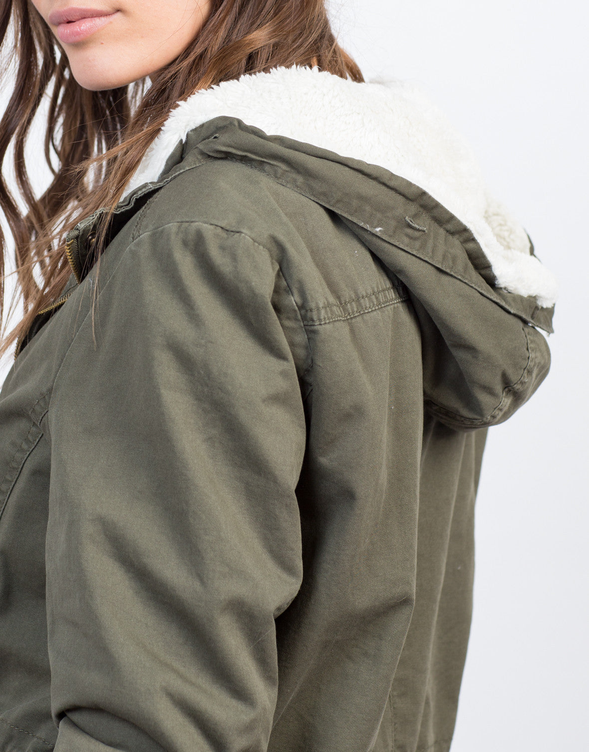 Detail of View of Furry Hooded Military Jacket