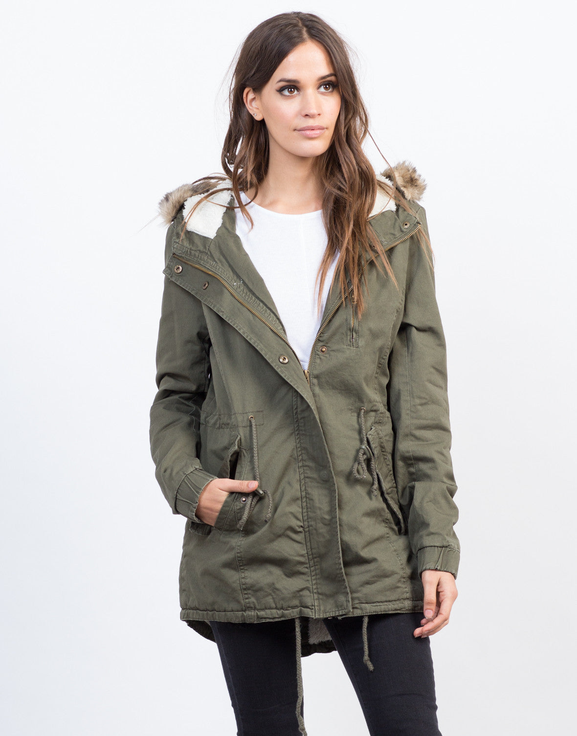 Front View of Furry Hooded Military Jacket