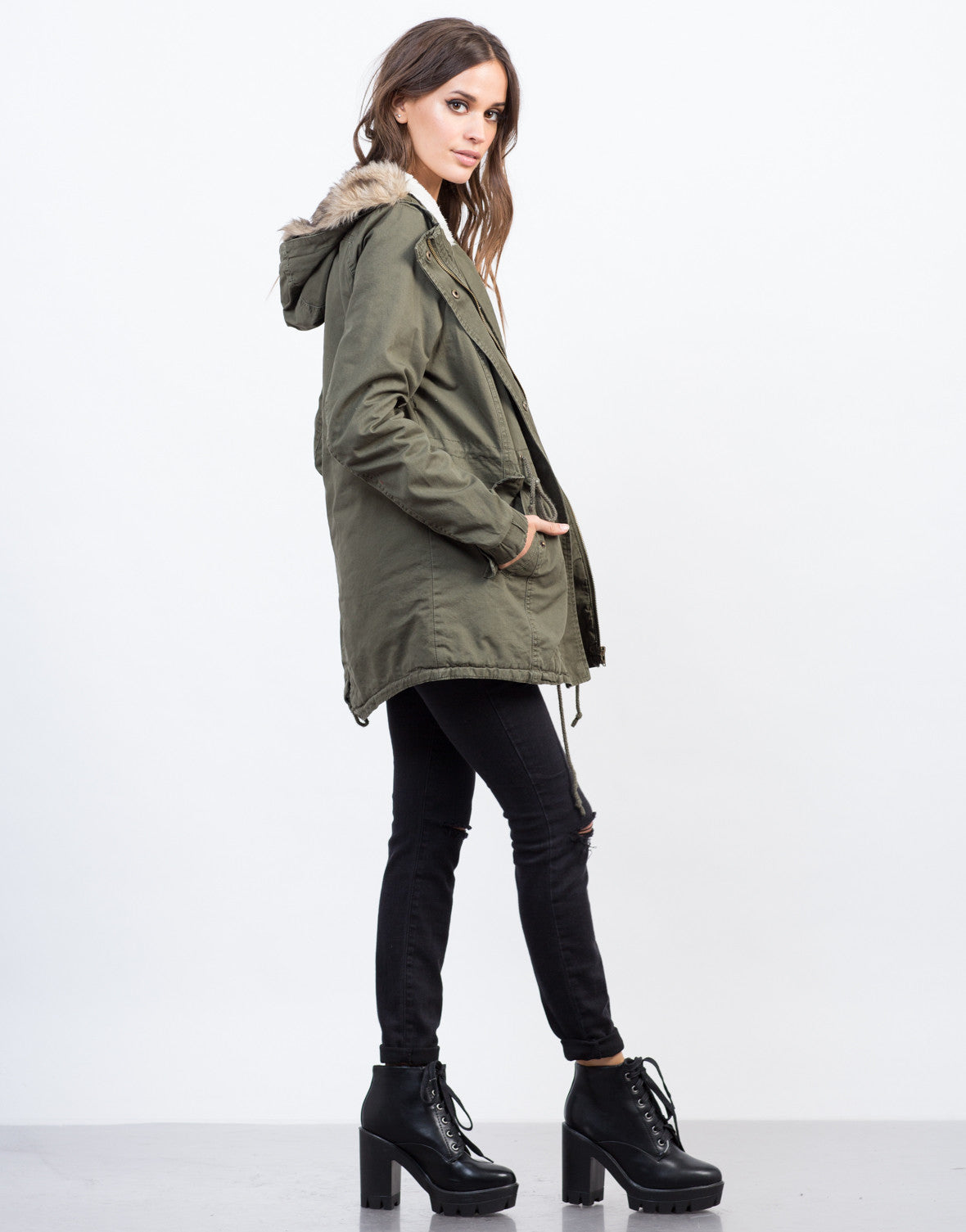 Side View of Furry Hooded Military Jacket