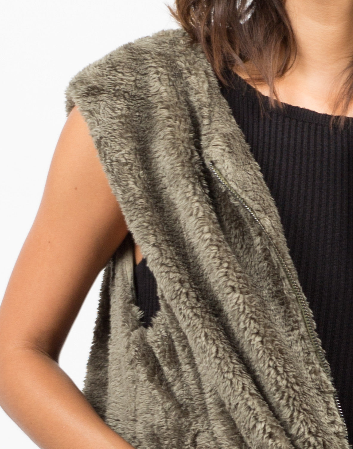 Detail of Furry Oversize Vest