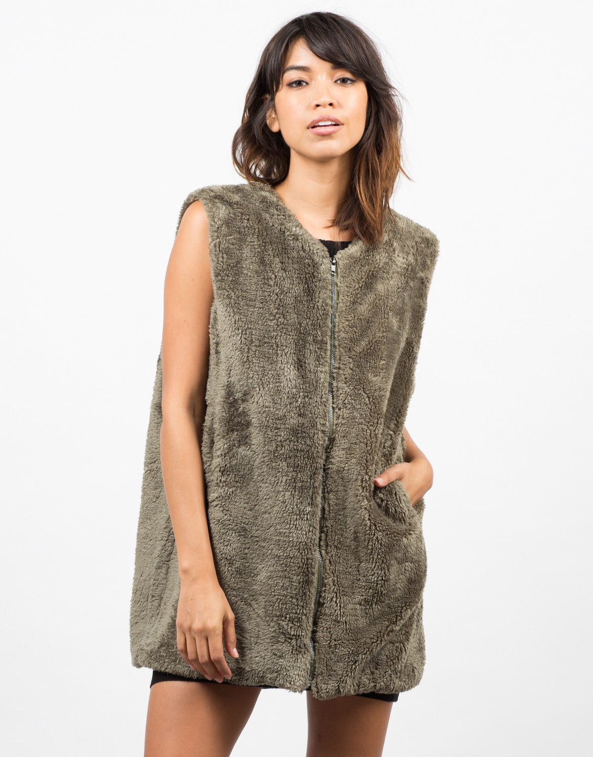 Front View of Furry Oversize Vest