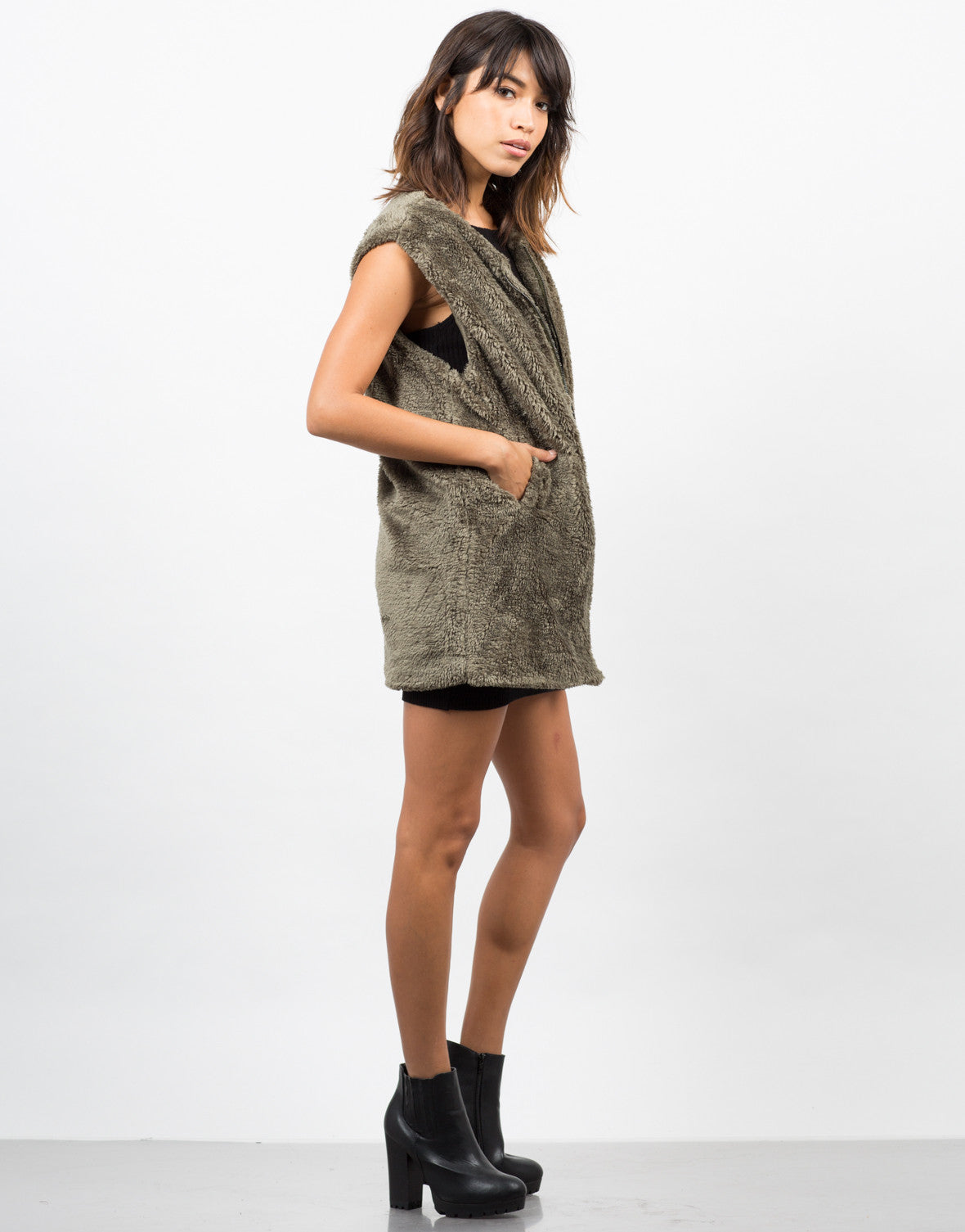 Side View of Furry Oversize Vest