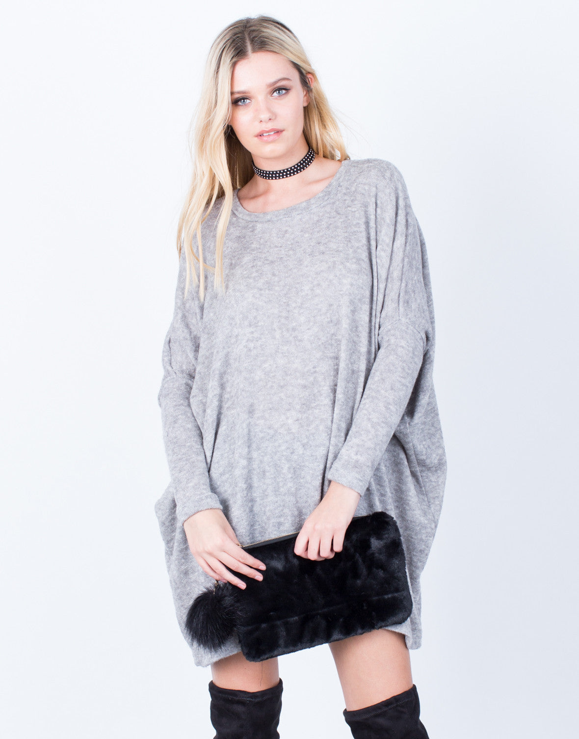Fuzzy Sweater Tunic Dress - Soft Oversized Sweater - Long Sleeve ...
