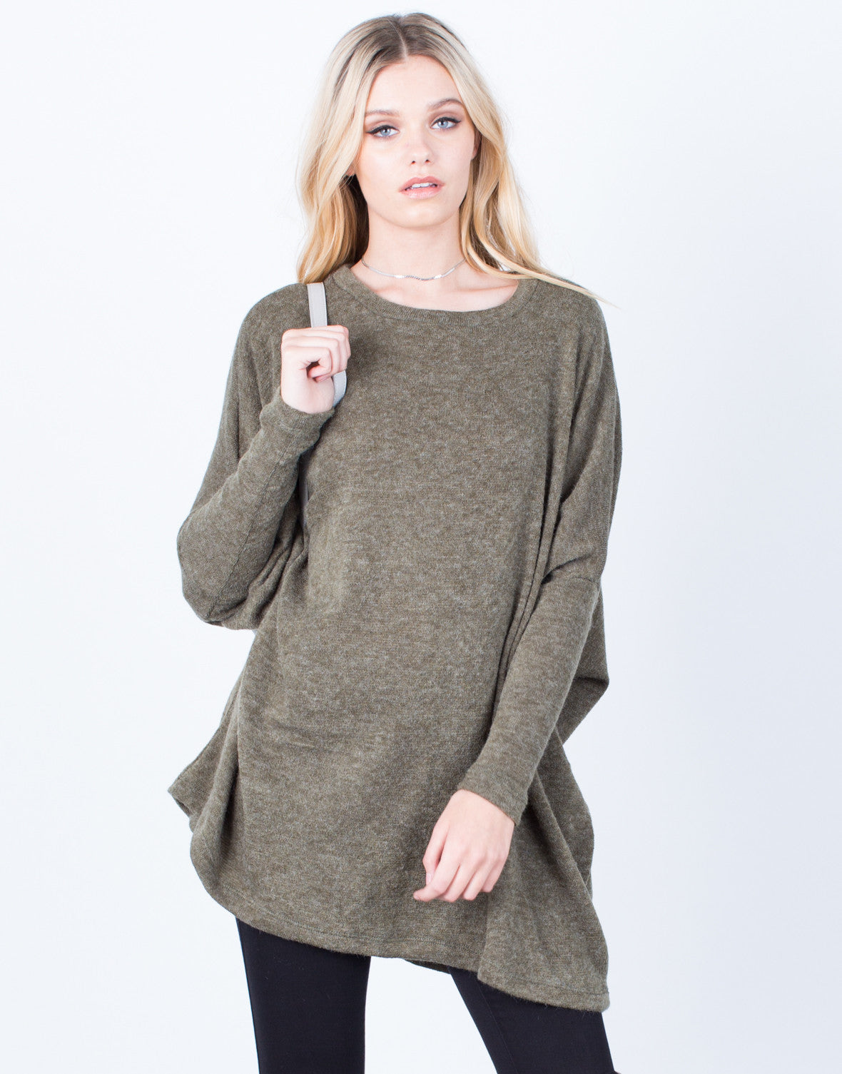 Front View of Fuzzy Sweater Tunic Dress