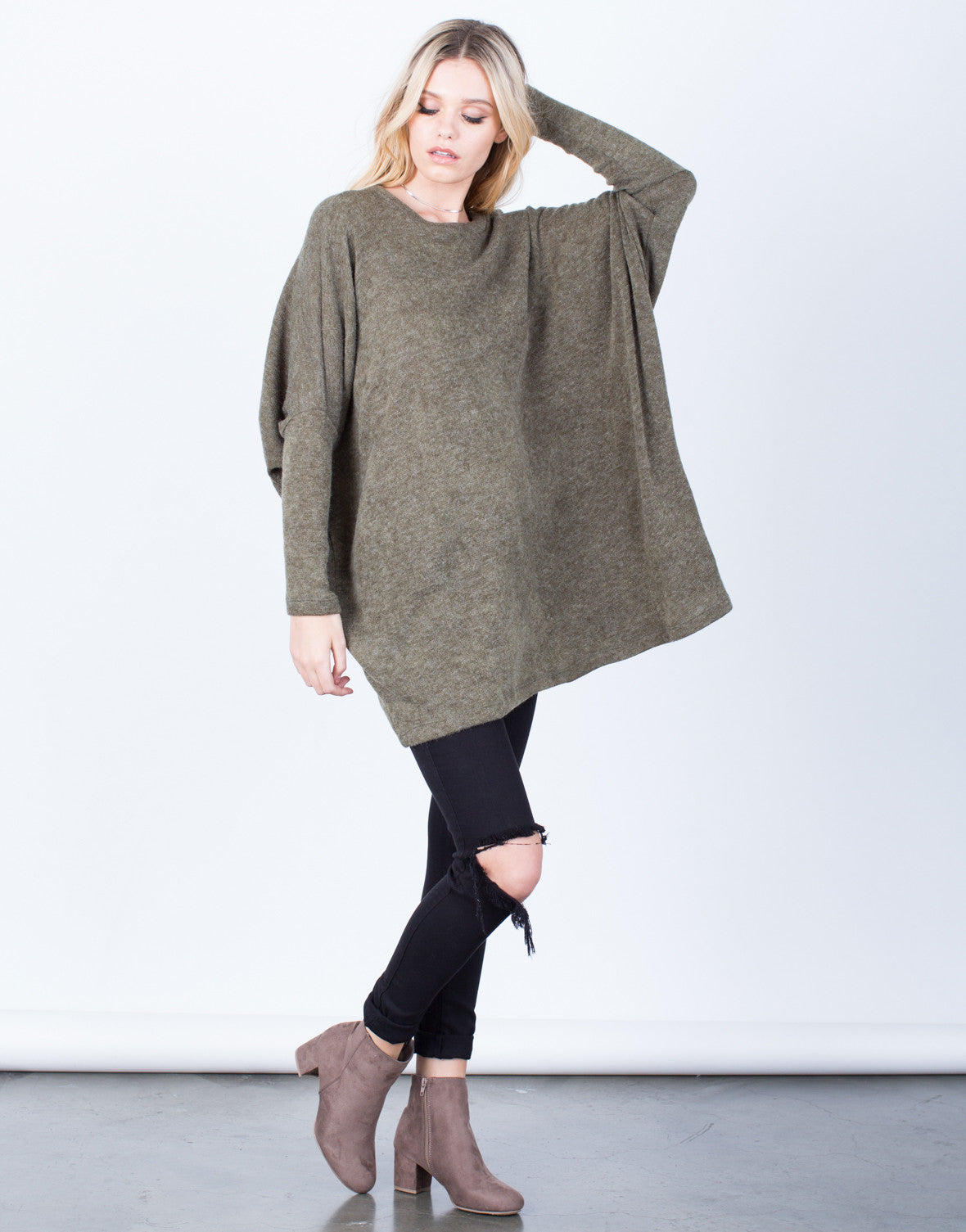 Side View of Fuzzy Sweater Tunic Dress