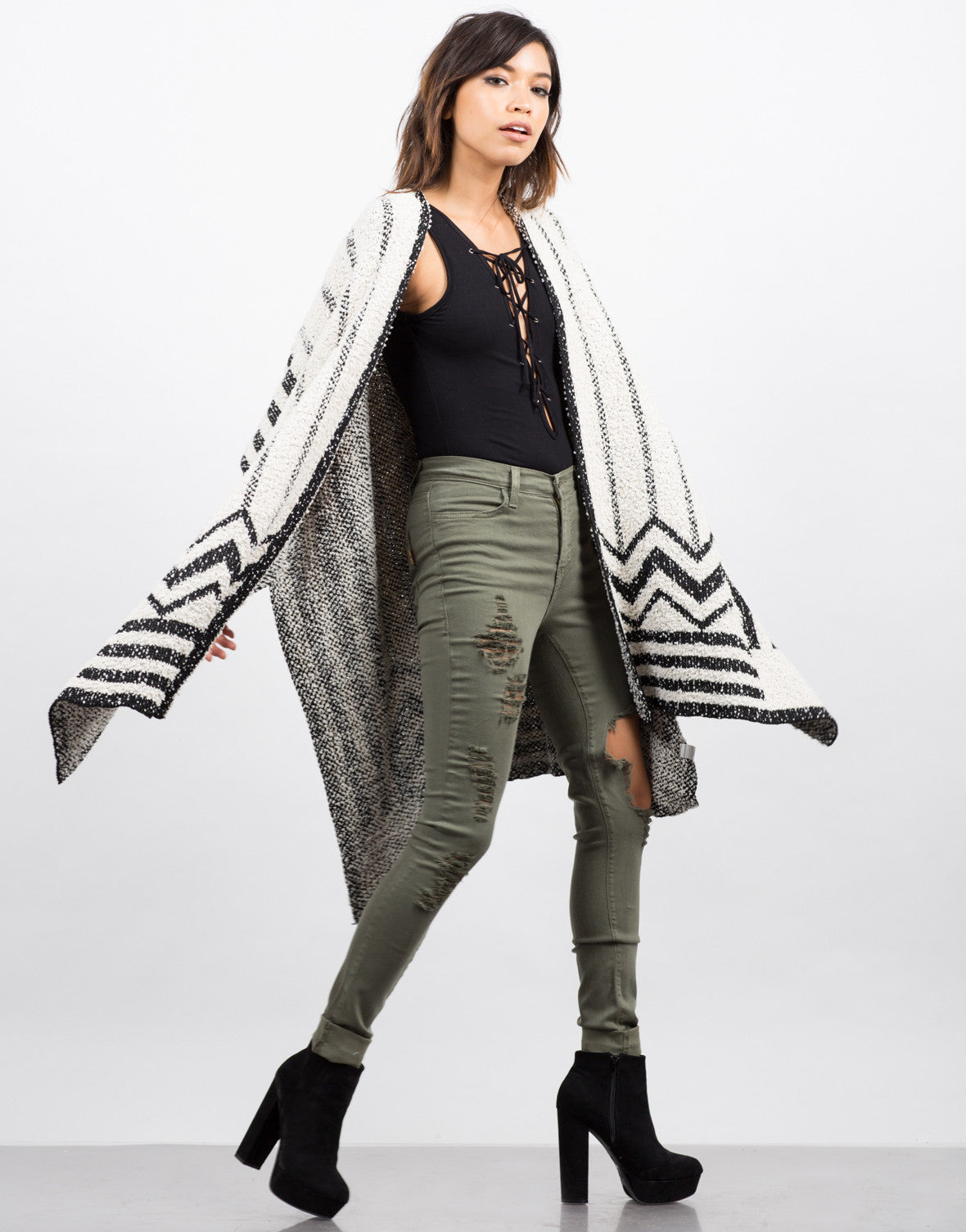 Side View of FuzzyÊOpen Poncho