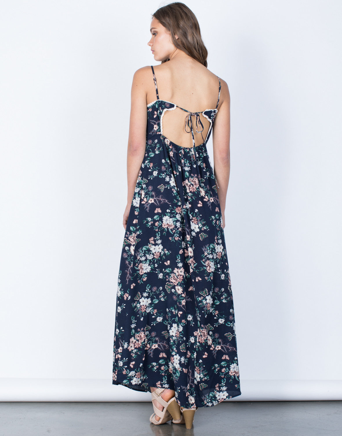 Back View of Garden Floral Maxi Dress