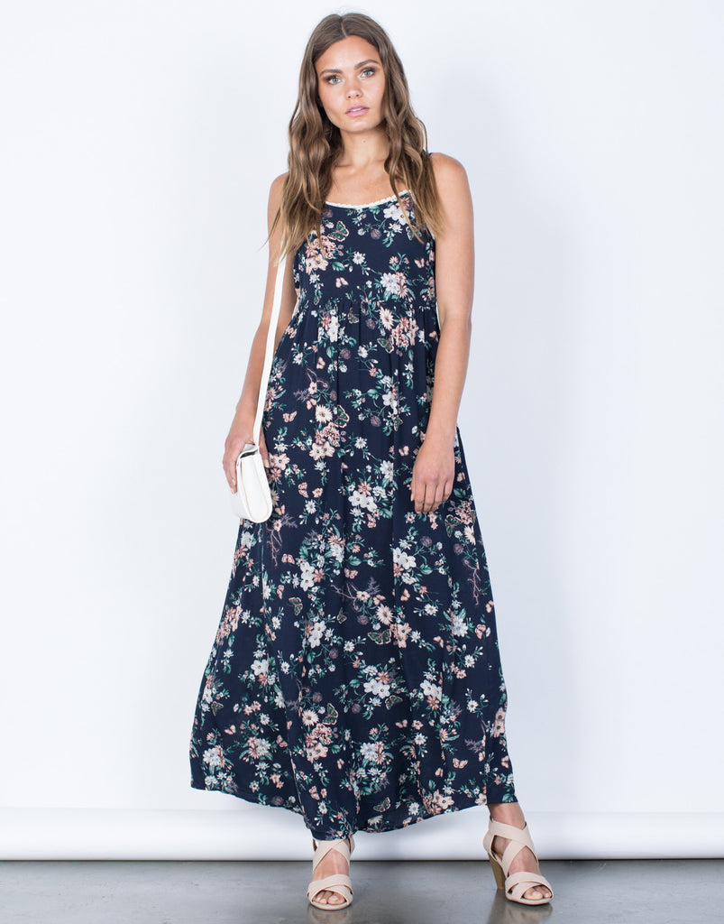 Front View of Garden Floral Maxi Dress