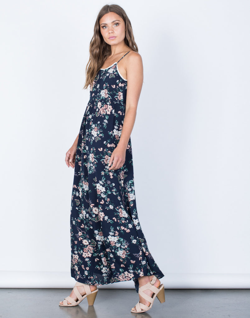Side View of Garden Floral Maxi Dress