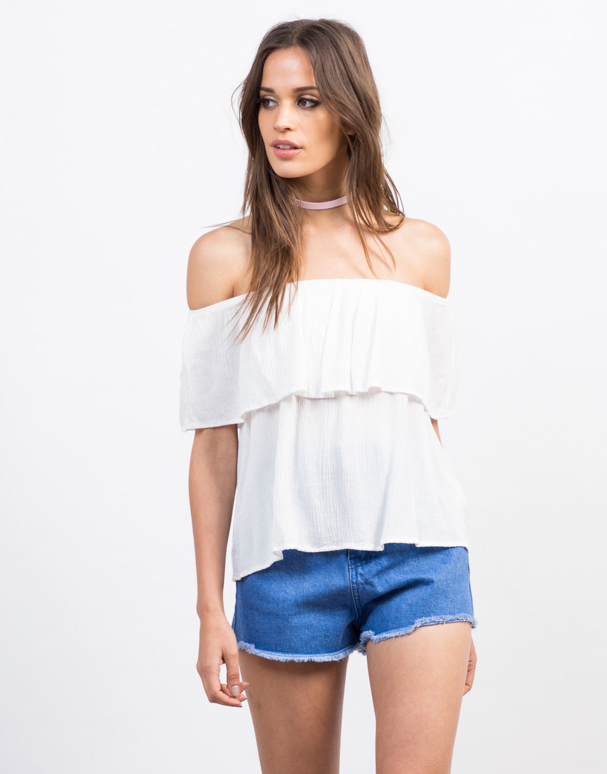 Front View of Gauze Off-the-Shoulder Top
