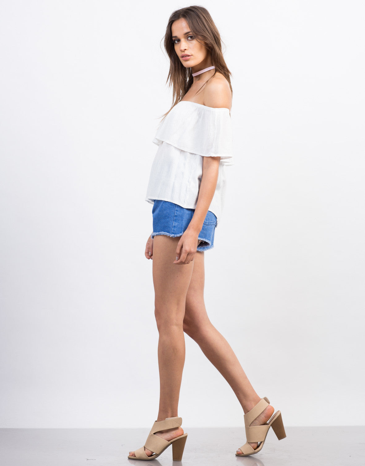 Side View of Gauze Off-the-Shoulder Top