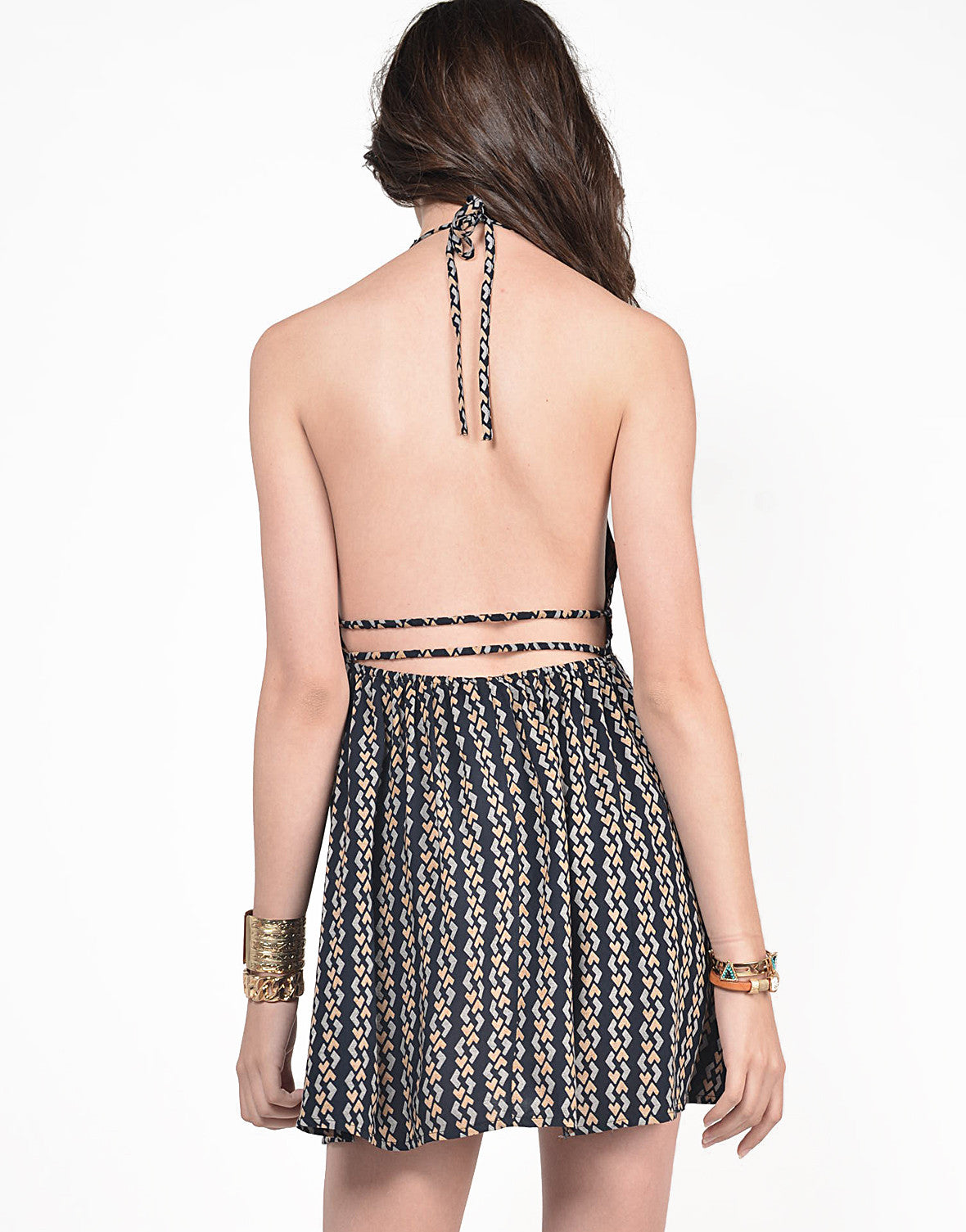 Back View of Geo Print Halter Dress
