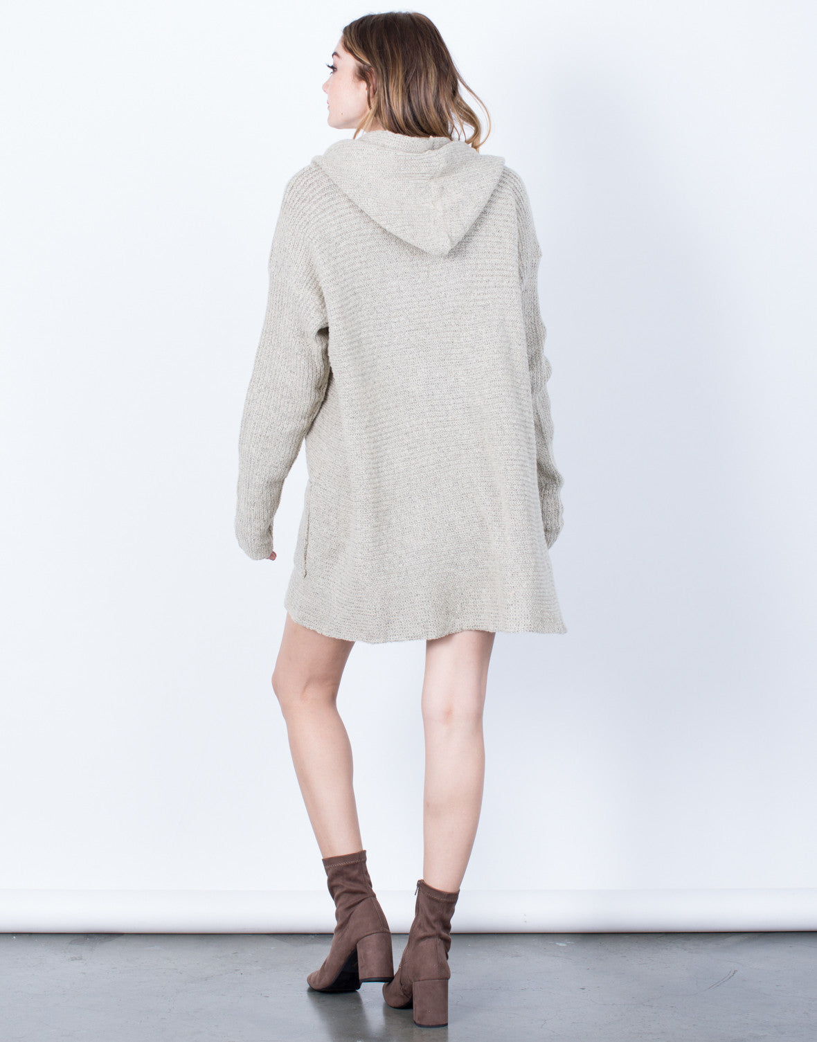 Back View of Get Cozy Hooded Cardigan