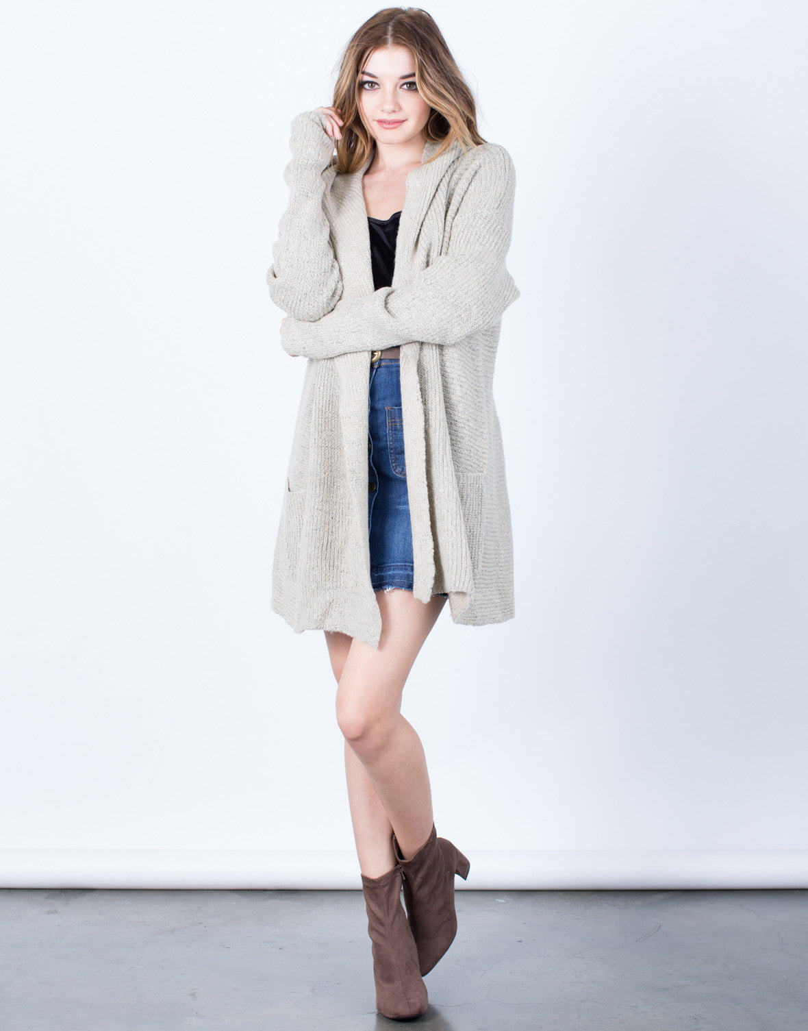 Front View of Get Cozy Hooded Cardigan