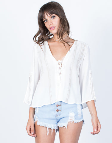 Front View of Getaway Boho Top