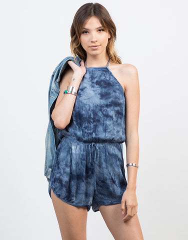 Front View of Getting Groovy Halter Romper