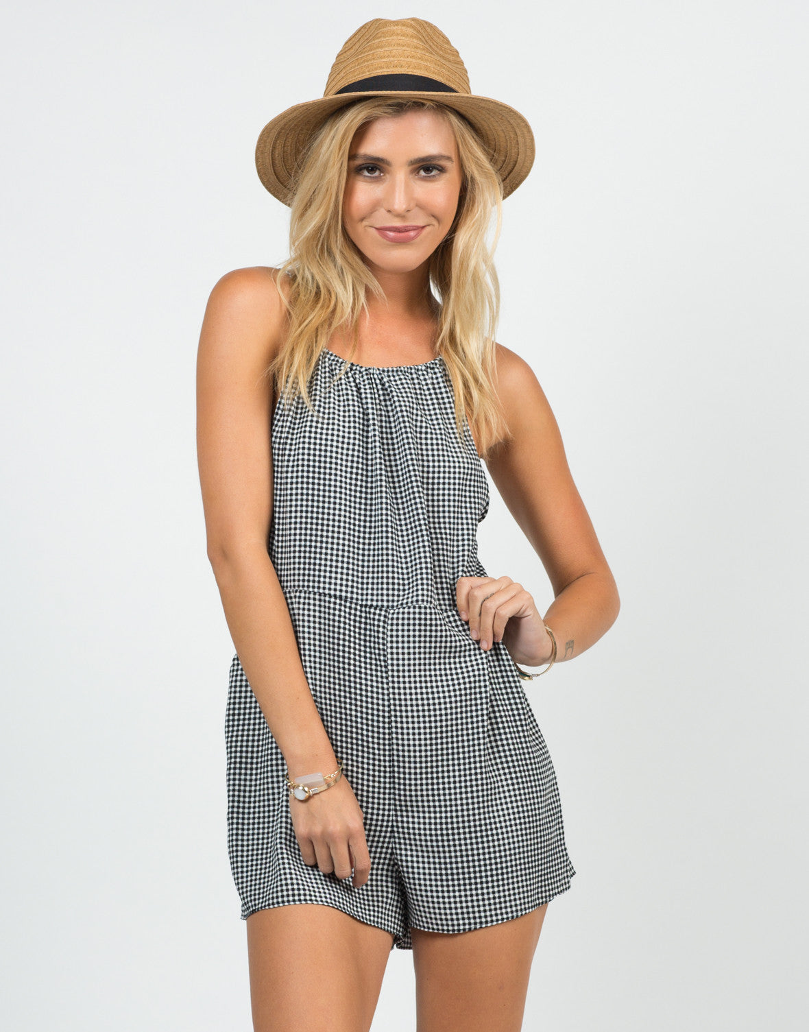 Front View of Gingham Cut Out Romper