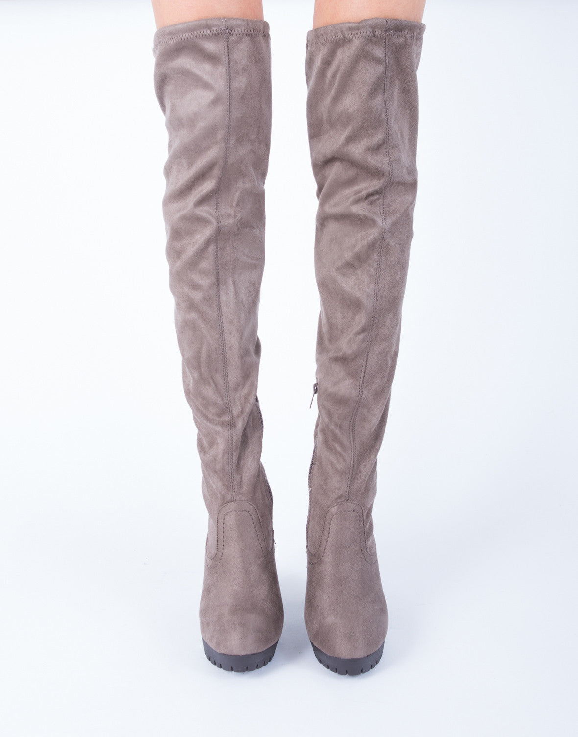 Platform Ridge Over-the-Knee Boots