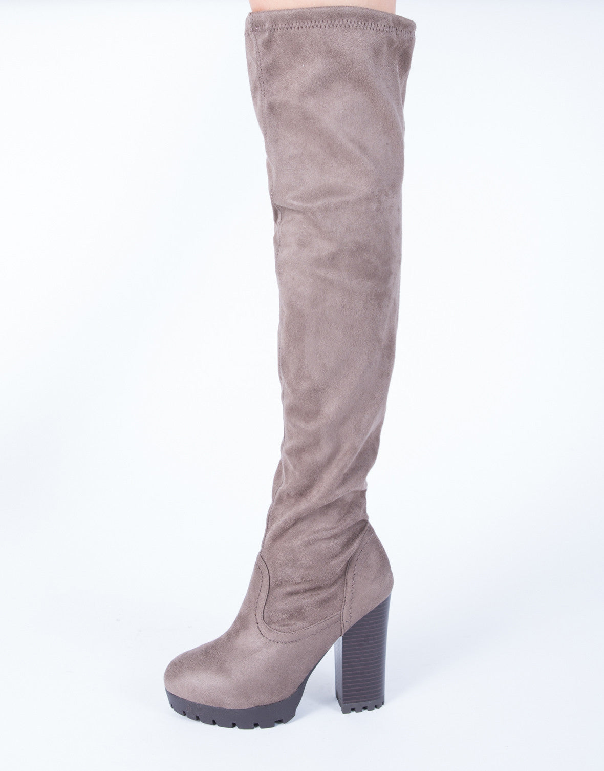 Platform Ridge Over-the-Knee Boots - 2020AVE