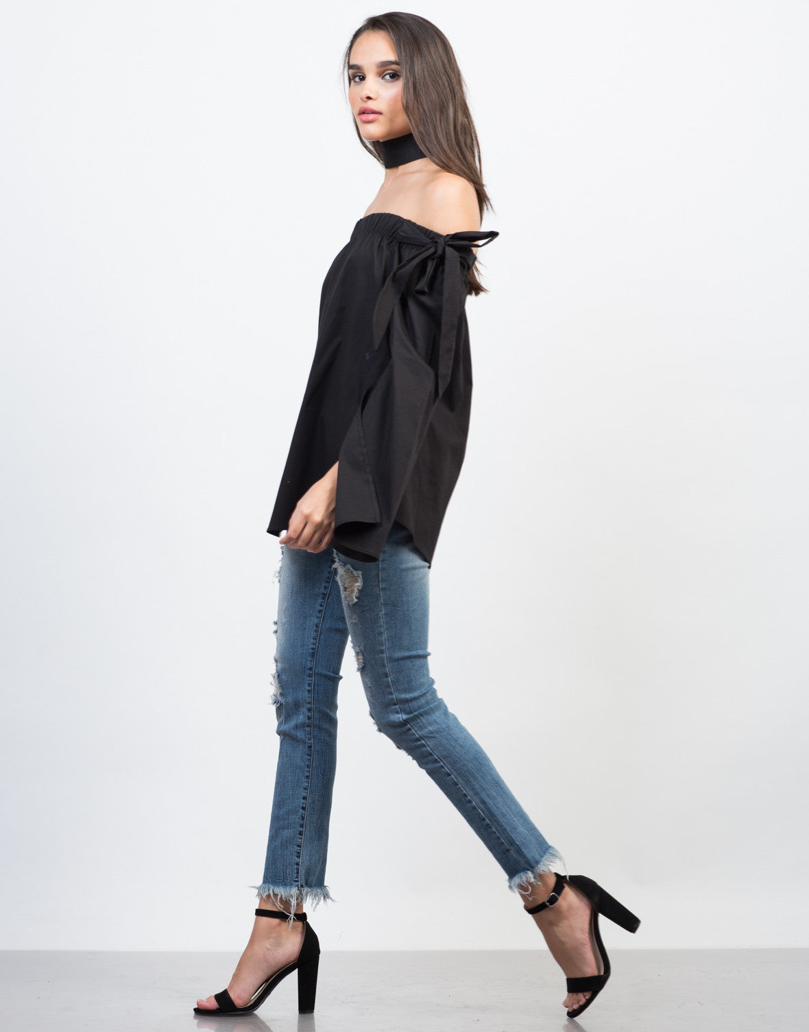 Side View of Give 'Em Flare Tunic Top