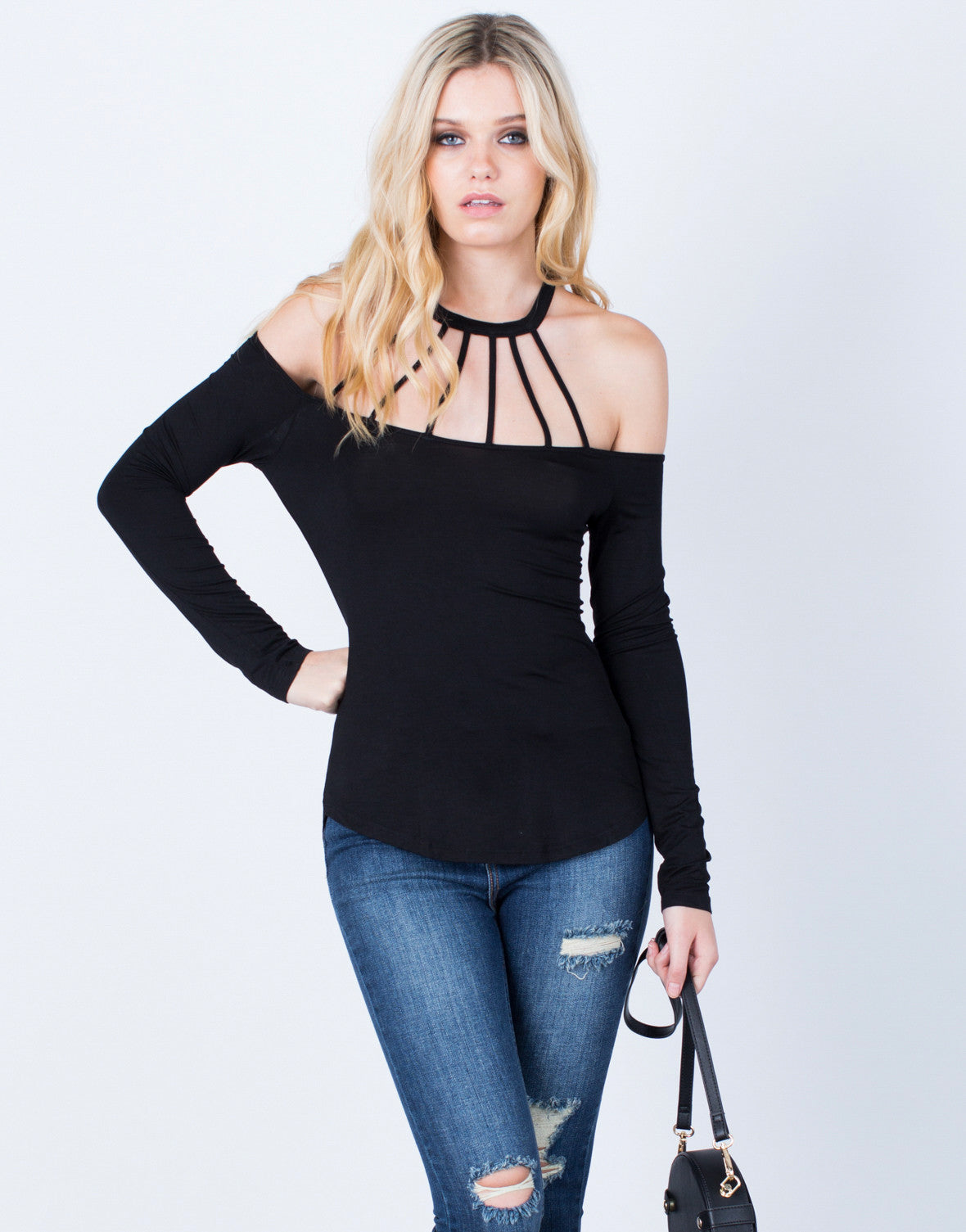 Front View of Give 'Em the Cold Shoulder Top