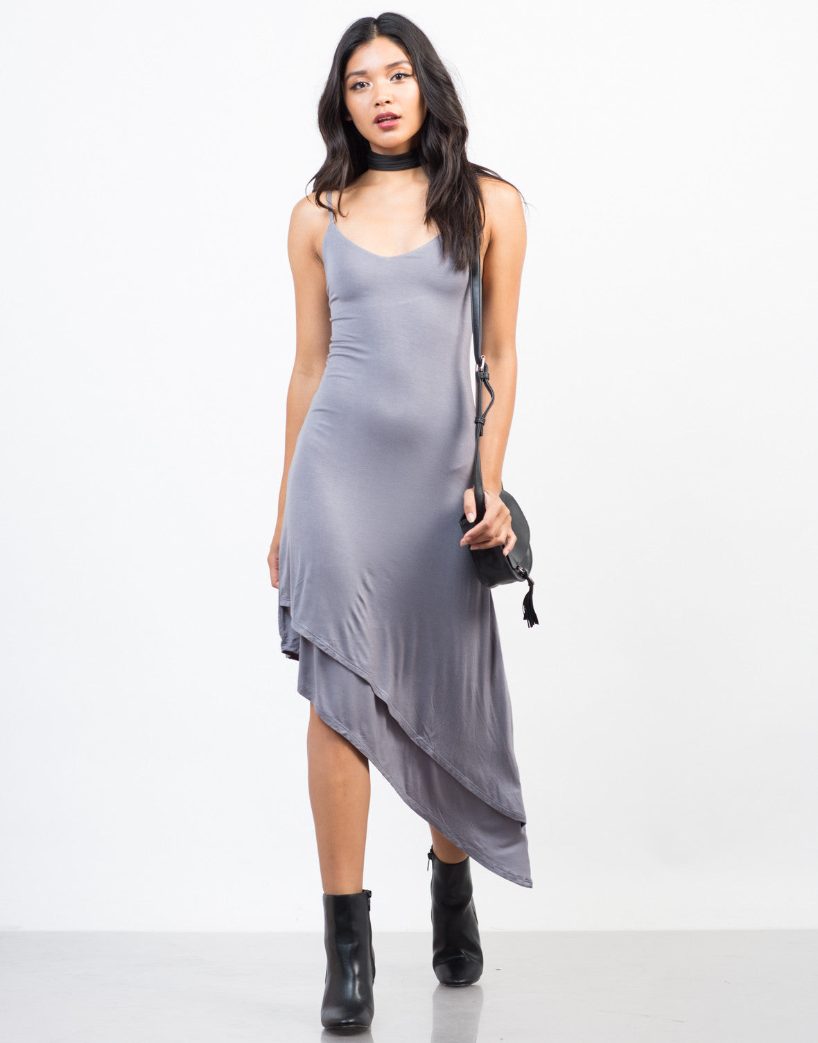 Front View of Going Sideways Slip Dress