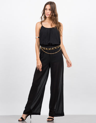 Front View of Gold Chained Jumpsuit