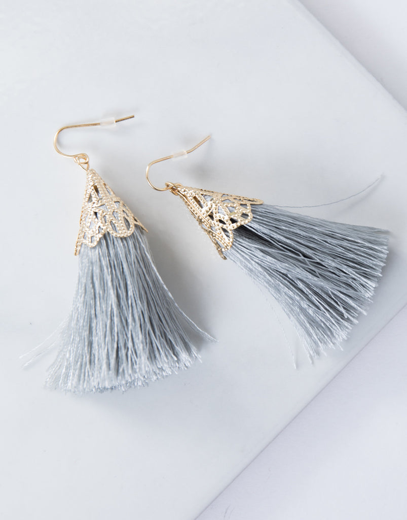 Golden Crown Tassel Earrings