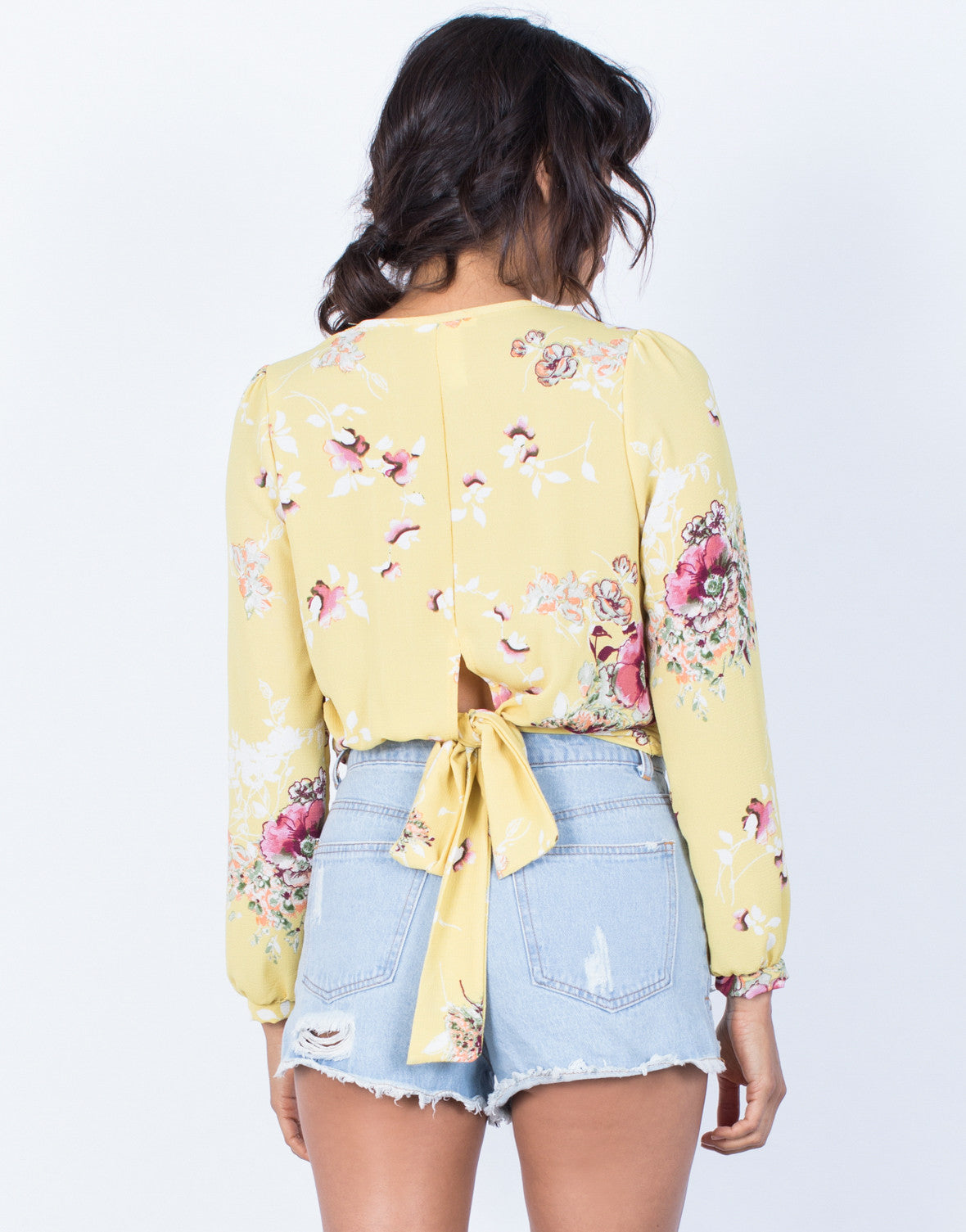 Back View of Golden Girl Floral Blouse