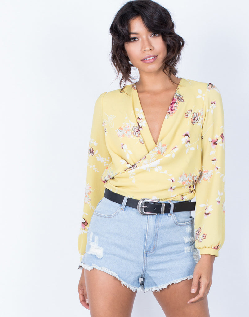 Front View of Golden Girl Floral Blouse